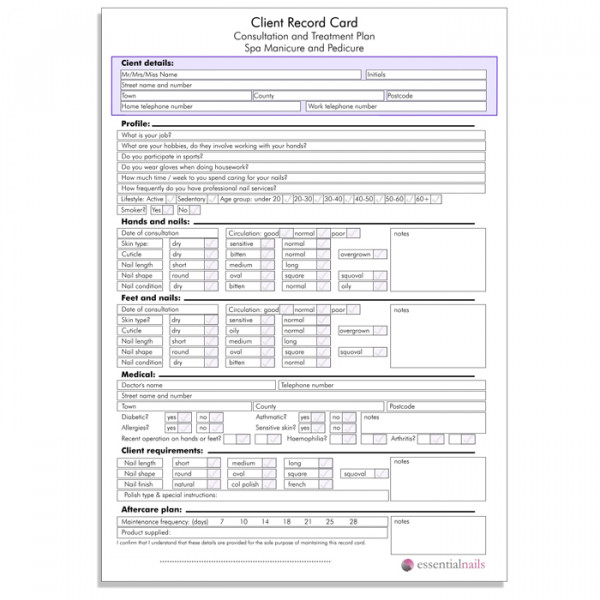 Client Record Card Pack