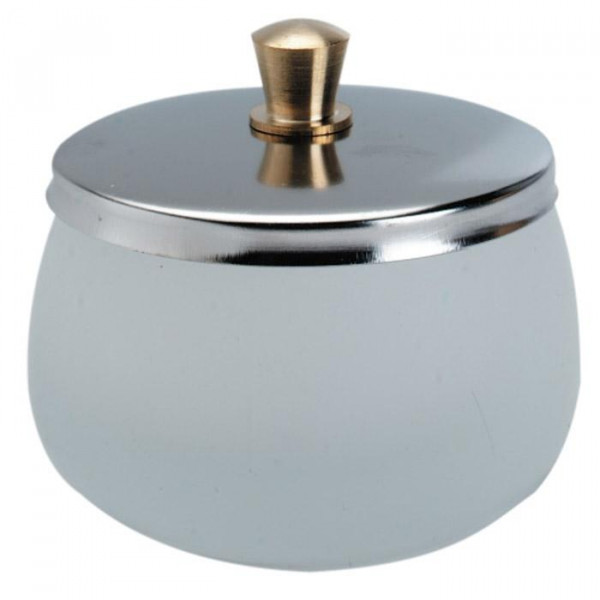 Nail Dappen Dish, Frosted with Lid